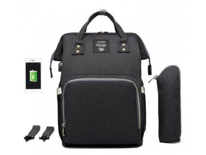 466f0512d3 Multifunkční batoh na kočárek se zabudovaným USB portem - černý